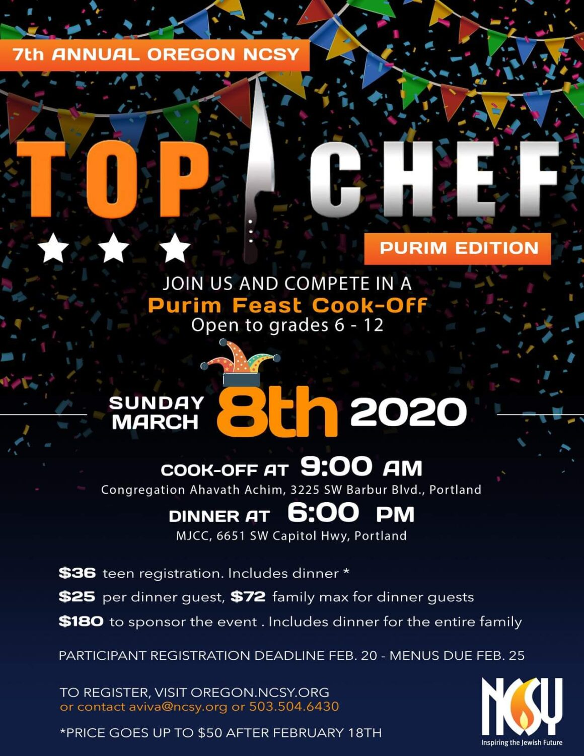 Top Chef Purim Edition @ Congregation Ahavath Achim