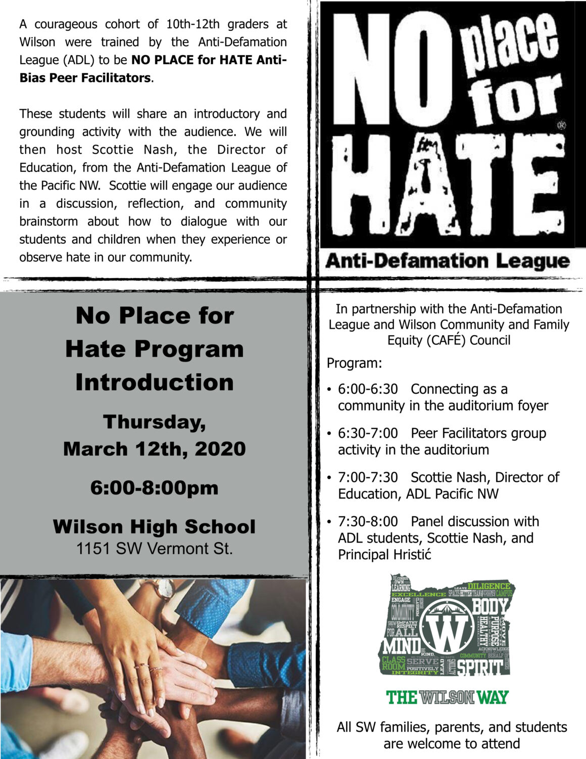 No Place for Hate Program Introduction @ Wilson High School